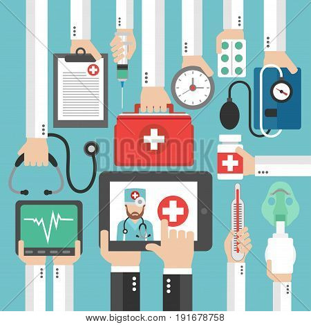 Online Medical diagnostics concept design flat call the doctor.Vector illustration