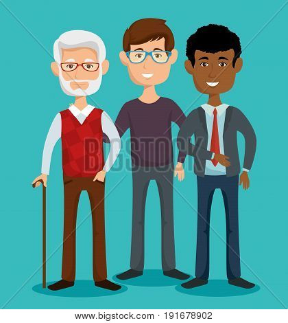 Men of different age over teal background vector illustration