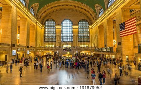 New York NY USA - June 6 2017. Grand Central terminal in New York City.