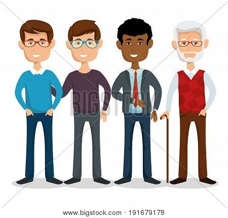 Standing men with different styles over white background vector ilustration