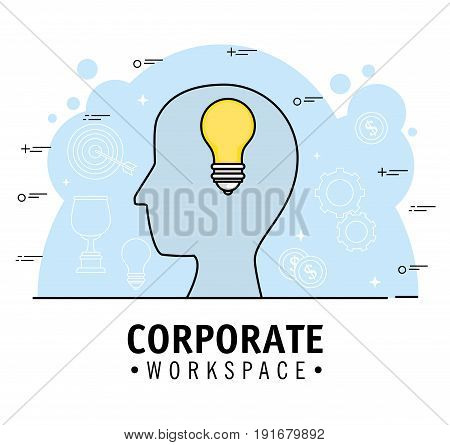 Corporate workspace design with head silhouette light bulb and hand drawn related objects over blue and white background vector illustration