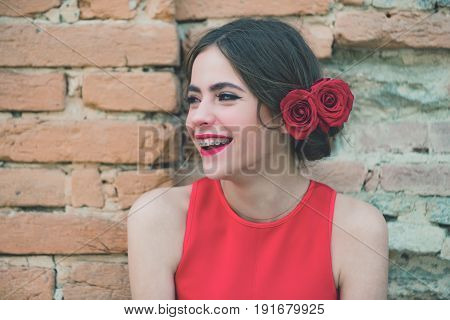 Smile Of Happy Girl With Dental Braces On Teeth