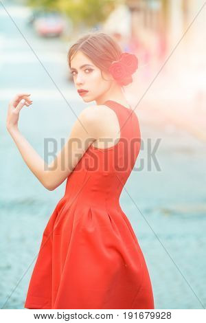 Beauty Woman In Stylish Red Dress Walking On Road