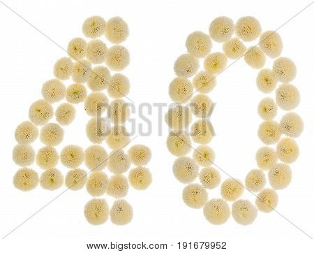 Arabic Numeral 40, Forty, From Cream Flowers Of Chrysanthemum, Isolated On White Background