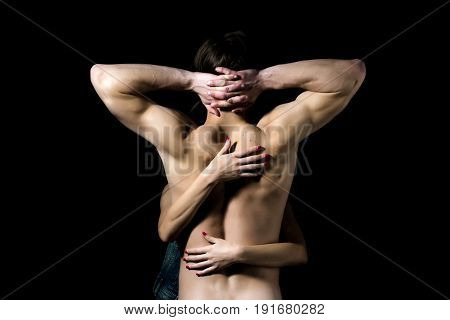 Sexy Man With Female Hands On Naked Back