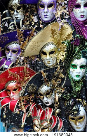 Venice Italy,October 20th 2010.Finely crafted masks hang on display in Venice waiting for Carnival time.Buy a mask and go incognito to the great Carnival celebrations.