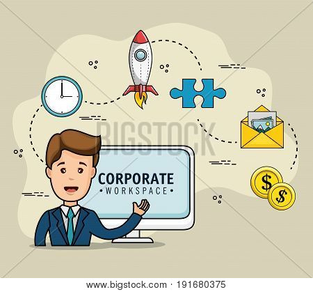 Corporate workspace design with businessman and strategy related objects over light background vector illustration