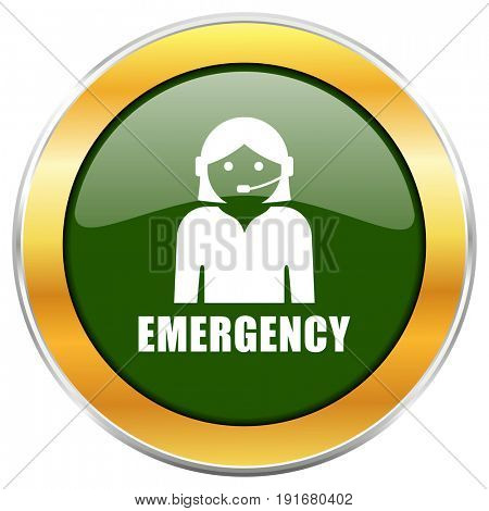 Emergency green glossy round icon with golden chrome metallic border isolated on white background for web and mobile apps designers.