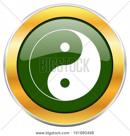 Ying yang green glossy round icon with golden chrome metallic border isolated on white background for web and mobile apps designers.