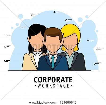 Corporate workspace design with business people avatars over light background vector illustration