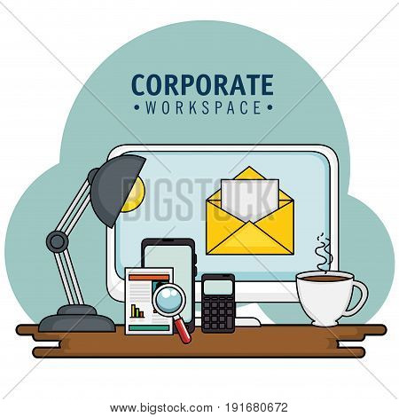 Corporate workspace design with desk and office supplies over light background vector illustration