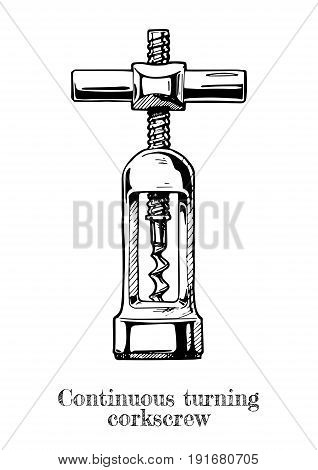 Vector hand drawn illustration of continuous turning corkscrew in vintage engraved style on white background.