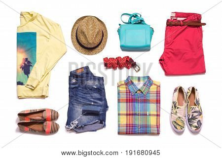 Collection summer clothes. Colorful clothes layout isolated on white background