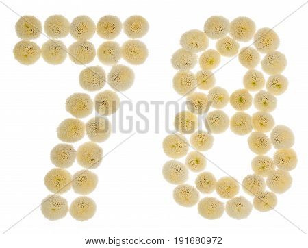 Arabic Numeral 78, Seventy Eight, From Cream Flowers Of Chrysanthemum, Isolated On White Background
