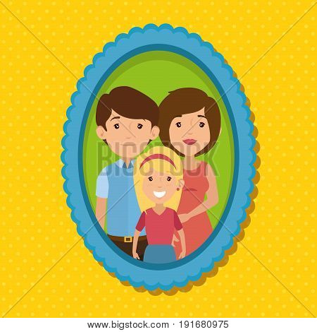 Cute family portrait with blue frame over yellow dotted background