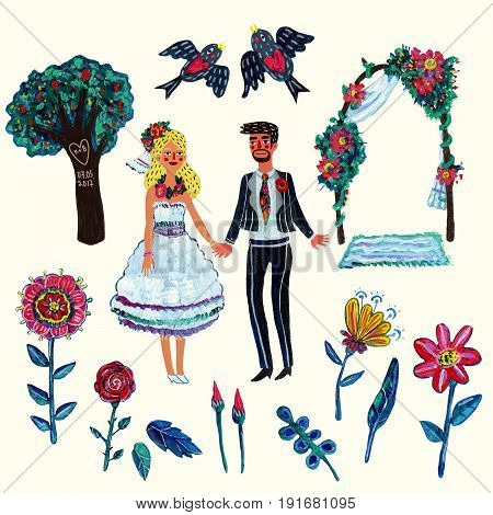 Garden wedding clipart with bride, groom, two swallows, flowers, leaves, tree and arch. Isolated elements. Acrylic hand-drawn illustration with some digital touches