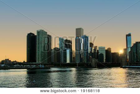 Evening light of Chicago