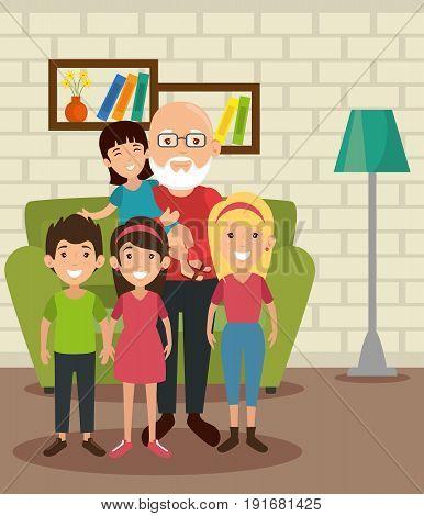 Grandpa and grandchildren at the living room colorful design vector illustration