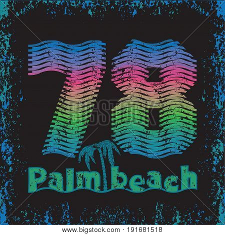 T-shirt palm beach typography Miami Beach Florida surfing t-shirts T-shirt inscription typography graphic design emblem