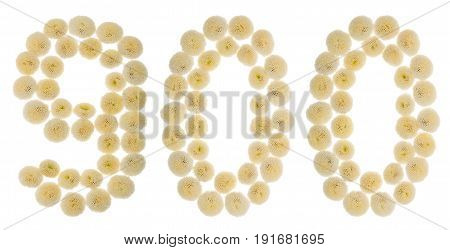 Arabic Numeral 900, Nine Hundred, From Cream Flowers Of Chrysanthemum, Isolated On White Background