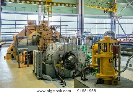 Turbo pump in machinery room of nuclear power plant