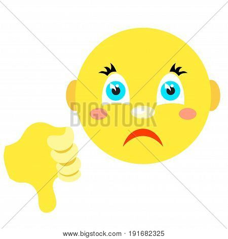 Smiley with thumb thumb down. Icons on a white background. Vector image in a cartoon style