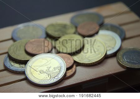 Euro coins money on the pallet. Prepared for transport. Macro photo european currency.
