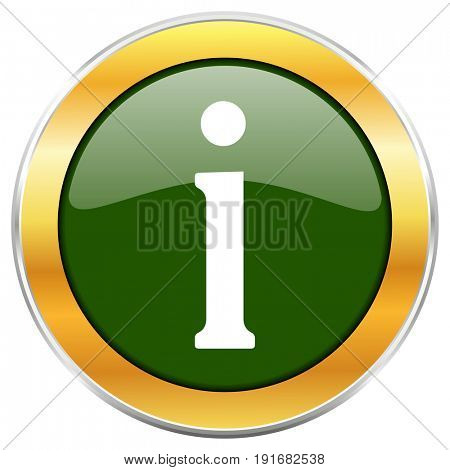 Information green glossy round icon with golden chrome metallic border isolated on white background for web and mobile apps designers.