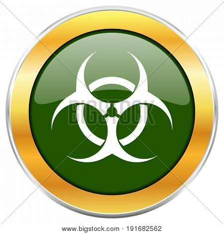 Biohazard green glossy round icon with golden chrome metallic border isolated on white background for web and mobile apps designers.