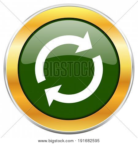 Reload green glossy round icon with golden chrome metallic border isolated on white background for web and mobile apps designers.