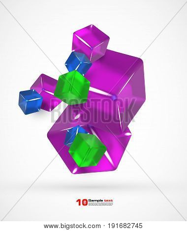 3d Colorful cubes. Background with Colorful cubes