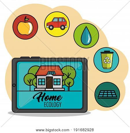 Tablet with house and home ecology sign  next to related icons over peach and white background vector illustration