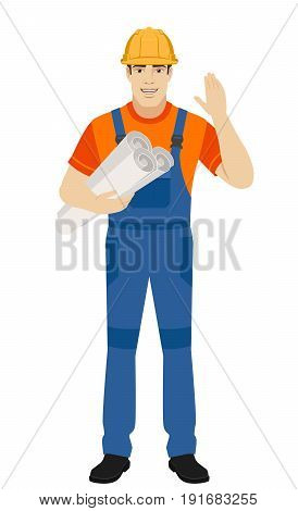 Builder with his hand raised up holding the project plans. Full length portrait of builder character in a flat style. Vector illustration.