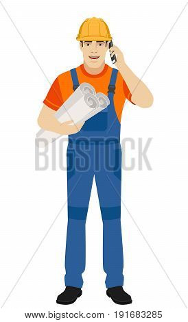 Builder holding the project plans and talking on the mobile phone. Full length portrait of builder character in a flat style. Vector illustration.