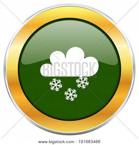 Snowing green glossy round icon with golden chrome metallic border isolated on white background for web and mobile apps designers.
