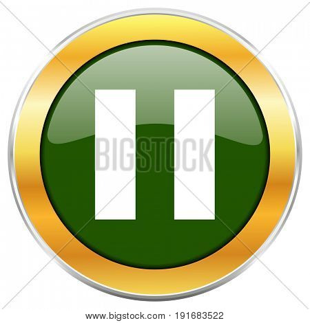 Pause green glossy round icon with golden chrome metallic border isolated on white background for web and mobile apps designers.
