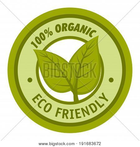 100 percent organic  eco friendly label with leaves over white background vector illustration
