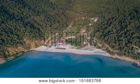 aerial view of Paradise beach at Thassos island Greece
