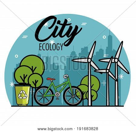 Eco friendly city skyline with wind turbines bike and recycle can design vector illustration