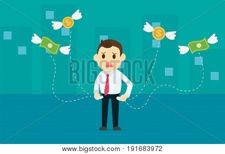 Businessman losing money with dollar and coins wing flying away from bag with city background vector illustration