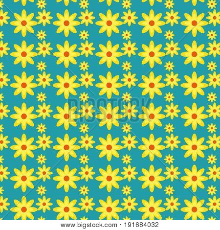 Yellow and peach flowers pattern over teal background vector illustration