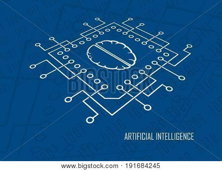 Computing CPU with brain symbol modern Artificial Intelligence symbol. Machine learning digital mind high-tech development contemporary concept vector illustration.