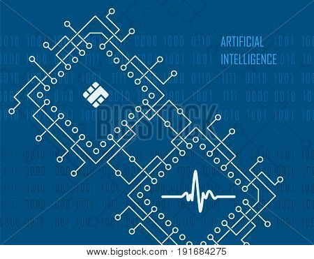 Artificial intelligence modern technology concept with integrated cpu processor industrial high-tech background. Vector illustration.