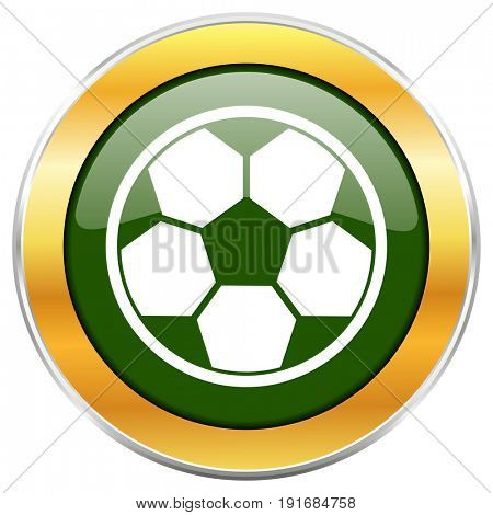 Soccer green glossy round icon with golden chrome metallic border isolated on white background for web and mobile apps designers.