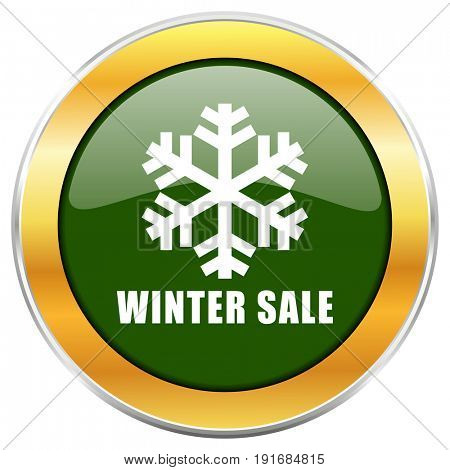 Winter sale green glossy round icon with golden chrome metallic border isolated on white background for web and mobile apps designers.