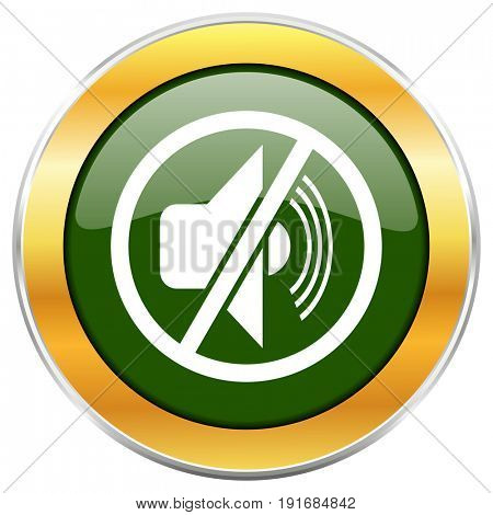 Mute green glossy round icon with golden chrome metallic border isolated on white background for web and mobile apps designers.