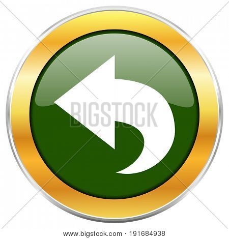 Back green glossy round icon with golden chrome metallic border isolated on white background for web and mobile apps designers.