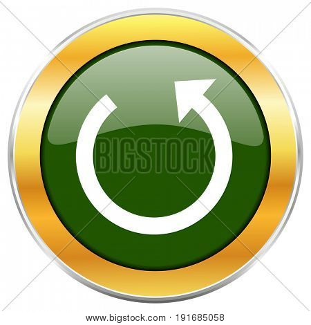 Rotate green glossy round icon with golden chrome metallic border isolated on white background for web and mobile apps designers.