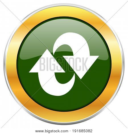 Rotation green glossy round icon with golden chrome metallic border isolated on white background for web and mobile apps designers.