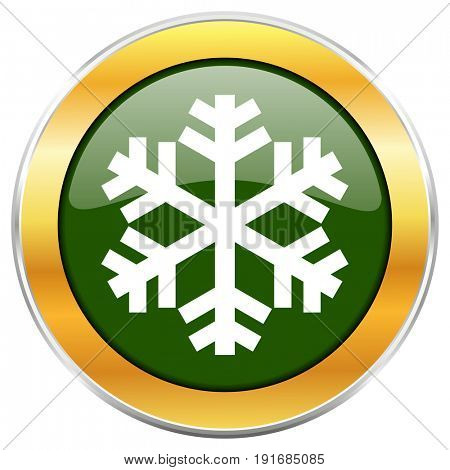 Snow green glossy round icon with golden chrome metallic border isolated on white background for web and mobile apps designers.